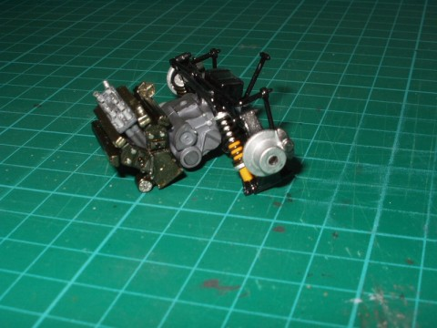 Complete engine with rear chassis